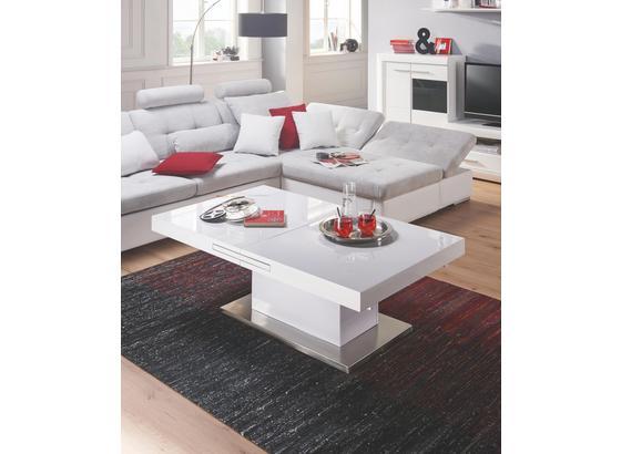 Konferenčný Stolík 2in1 - biela/farby ušľachtilej ocele, Moderný, kov/kompozitné drevo (133/170/47,5/75/80cm)