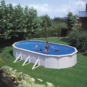 Stahlwandpool Set Steely De Luxe Oval 610 X 360 X 120cm - Weiß, MODERN, Metall (610/360/120cm)