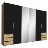 Drehtürenschrank mit Spiegel + Laden 300cm Level 36a, Graphit - Eichefarben/Graphitfarben, MODERN, Glas/Holzwerkstoff (300/216/58cm)