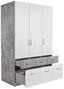 Skříň Šatní Aalen-extra - bílá/šedá, Konvenční, dřevěný materiál (136/197/54cm)
