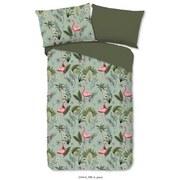 Bettwäsche Mila 140/200cm Grün/Flamingo - Multicolor/Grün, Basics, Textil
