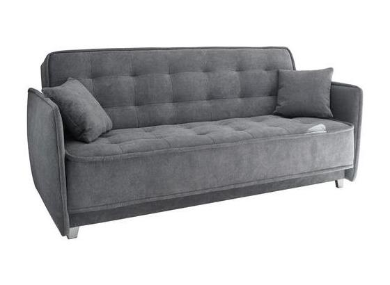Schlafsofa Aron B: ca. 216 cm - Anthrazit/Silberfarben, MODERN, Holzwerkstoff/Textil (216/95/95cm) - Carryhome