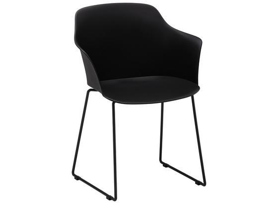 Záhradná Stolička Mailand - čierna, kov/plast (58,5/80,5/52,5cm) - Modern Living