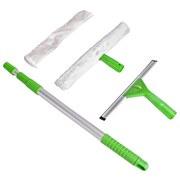 Fensterwischer 4-teilig - Alufarben/Grün, KONVENTIONELL, Kunststoff/Textil