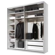 Schwebetürenschrank Includo 188cm Weiß/puccini - Eichefarben/Weiß, MODERN, Glas/Holzwerkstoff (188/222/68cm)