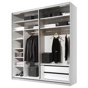 Schwebetürenschrank mit Schubladen 188cm Includo, Weiß - Weiß, MODERN, Glas/Holzwerkstoff (188/222/68cm)