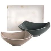 Schüsselset 3-Tlg. Servierset Derby - Beige/Weiß, Basics, Keramik (40/40/25cm)