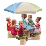 Kinder-Gartentisch Np Step2 mit Sonnenschirm - Blau/Beige, MODERN, Kunststoff (109,2/183/103,5cm)