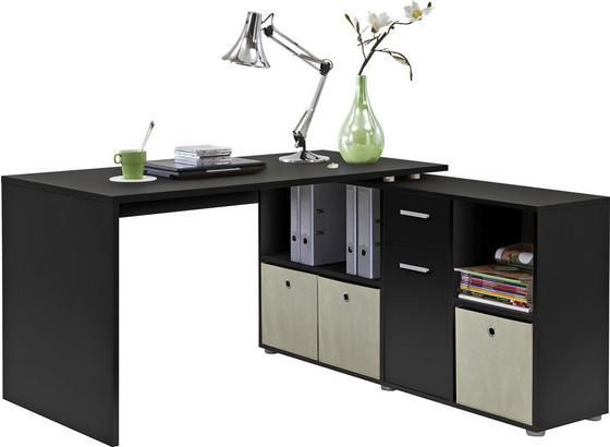 Psací Stůl Lex - černá, Moderní, kompozitní dřevo (136/137/74/71/66,5/33cm)