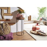 Beistelltisch Akola D: ca. 28 cm - Sheeshamfarben/Schwarz, Design, Holz/Metall (28/28/55cm) - Livetastic