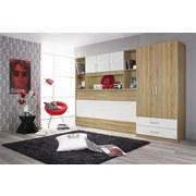 Drehtürenschrank mit Laden 91cm Albero, Eichefarben - Eichefarben/Weiß, Design, Holzwerkstoff (91/197/54cm) - MID.YOU