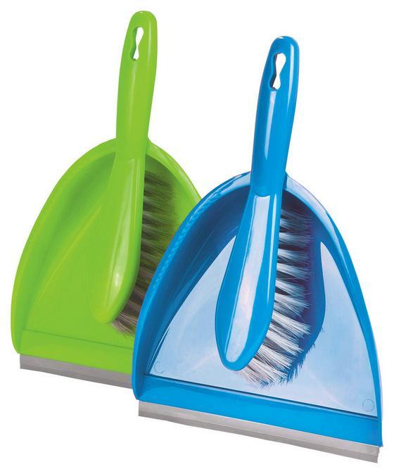 Seprű Szett 2 Részes - Zöld/Kék, konvencionális, Műanyag (32/22/10cm)