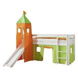Spielbett Alex 90x200 cm Buche Massiv - Orange/Grün, Design, Holz/Textil (90/200cm) - MID.YOU