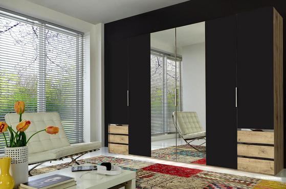 Sechstüriger Kleiderschrank in Graphit und Eiche Dekor mit Schubladen und Spiegel