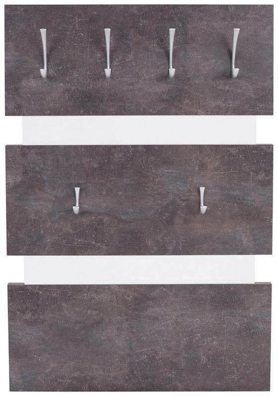 Garderobenpaneel Moya - Fehér/Sötétszürke, modern, Faalapú anyag/Műanyag (70/99/2cm)