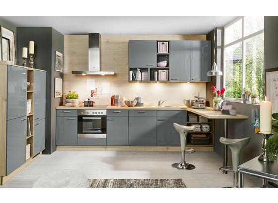 Rohová Kuchyň Star - šedá/barvy dubu, Moderní, kompozitní dřevo (150/330cm)