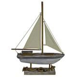 Dekoboot Sailor - Creme/Grau, LIFESTYLE, Naturmaterialien/Holz (40/55,5/8,5cm)