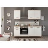 Küchenblock Retro B: 210 cm Weiß/Eiche - Eichefarben/Weiß, LIFESTYLE, Holzwerkstoff (210cm) - MID.YOU