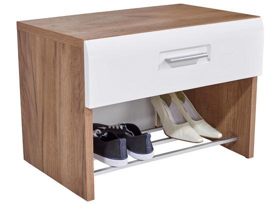 Šatní Lavice Avensis - bílá/barvy dubu, Moderní, kompozitní dřevo (70/44/37,1cm) - Luca Bessoni