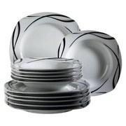 Tafelservice 12-Tlg. Tafelservice Oslo - Schwarz/Weiß, Basics, Keramik (28,5/24,5/30cm)