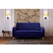 Sofa Brahms B:162 cm - Blau/Walnussfarben, MODERN, Holz (162/86/85cm)