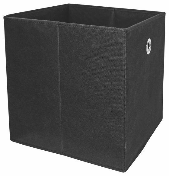 Skladací Box Cubi - čierna, Moderný, kompozitné drevo/textil (32/32/32cm)
