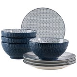 Desserttellerset Dessertteller & Schüssel Telde - Blau, Basics, Keramik (41,3/26,6/32,6cm)