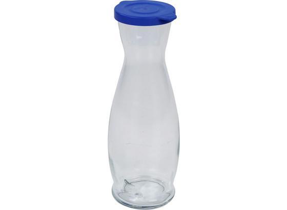 Wasserkaraffe Isolde, 1 Liter - Blau/Klar, KONVENTIONELL, Glas/Kunststoff (1l) - Luca Bessoni