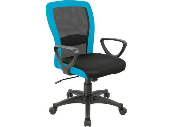 Otočná Židle Petra - petrolej/černá, Moderní, kov/kompozitní dřevo (60/91/98,5/57cm)