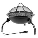 Feuerstelle Ø 52 cm mit Grillrost Barbecue Champ Wood - Schwarz, Basics, Metall (40/52cm)