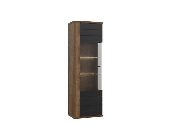 Vitrína Lacjum - farby dubu, Konvenčný, kov/kompozitné drevo (62,1/197,1/41,6cm)