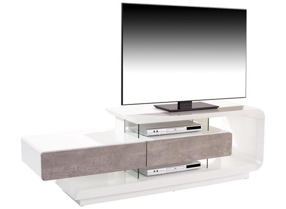 Tv Stolík Carla - sivá/biela, Moderný, kompozitné drevo/plast (164,5/50/40cm)