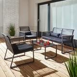 Záhradní Souprava Tina - černá, Moderní, kov/textil - MODERN LIVING