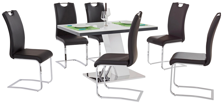 Étkezőasztal Metz 120 - fehér/nemesacél színű, modern, üveg/fém (120/76/80cm)