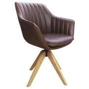 Drehstuhl Belluno Lederlook  Braun - Eichefarben/Braun, MODERN, Holz/Textil (60/88/57,5cm) - Luca Bessoni