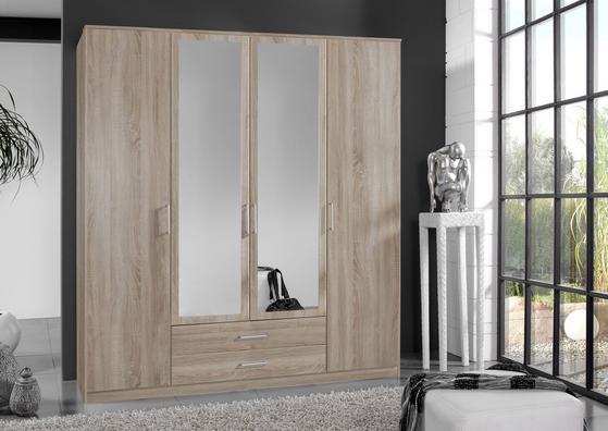 Viertüriger Kleiderschrank mit zwei Spiegeln