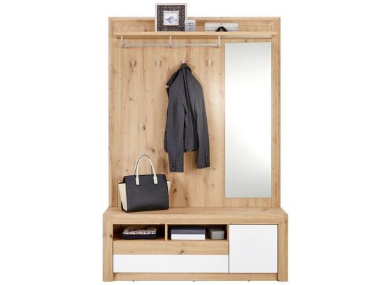 Šatna Kashmir New - bílá/barvy dubu, Moderní, kompozitní dřevo (130/192/36cm) - James Wood