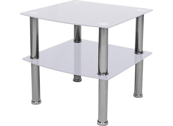 Kisasztal Peter - Króm/Fehér, modern, Üveg/Fém (45/43/45cm)