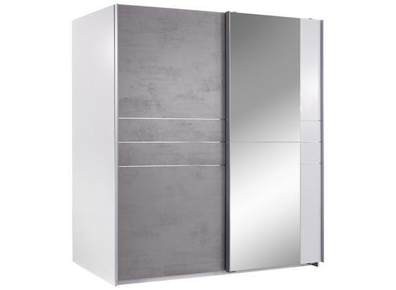 Skříň S Posuvnými Dveřmi Stripe - šedá/bílá, Moderní, dřevo/kompozitní dřevo (180/198/64cm)