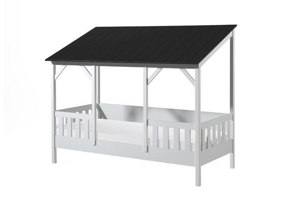 Kinder-/Juniorbett Housebed 90x200 cm Weiß - Schwarz/Weiß, MODERN, Holz/Holzwerkstoff (90/200cm) - Livetastic
