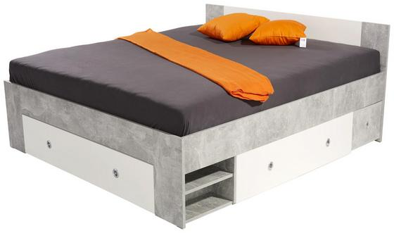 Posteľ Azurro 160x200cm - biela/svetlosivá, Moderný, kompozitné drevo (204/75/165cm)