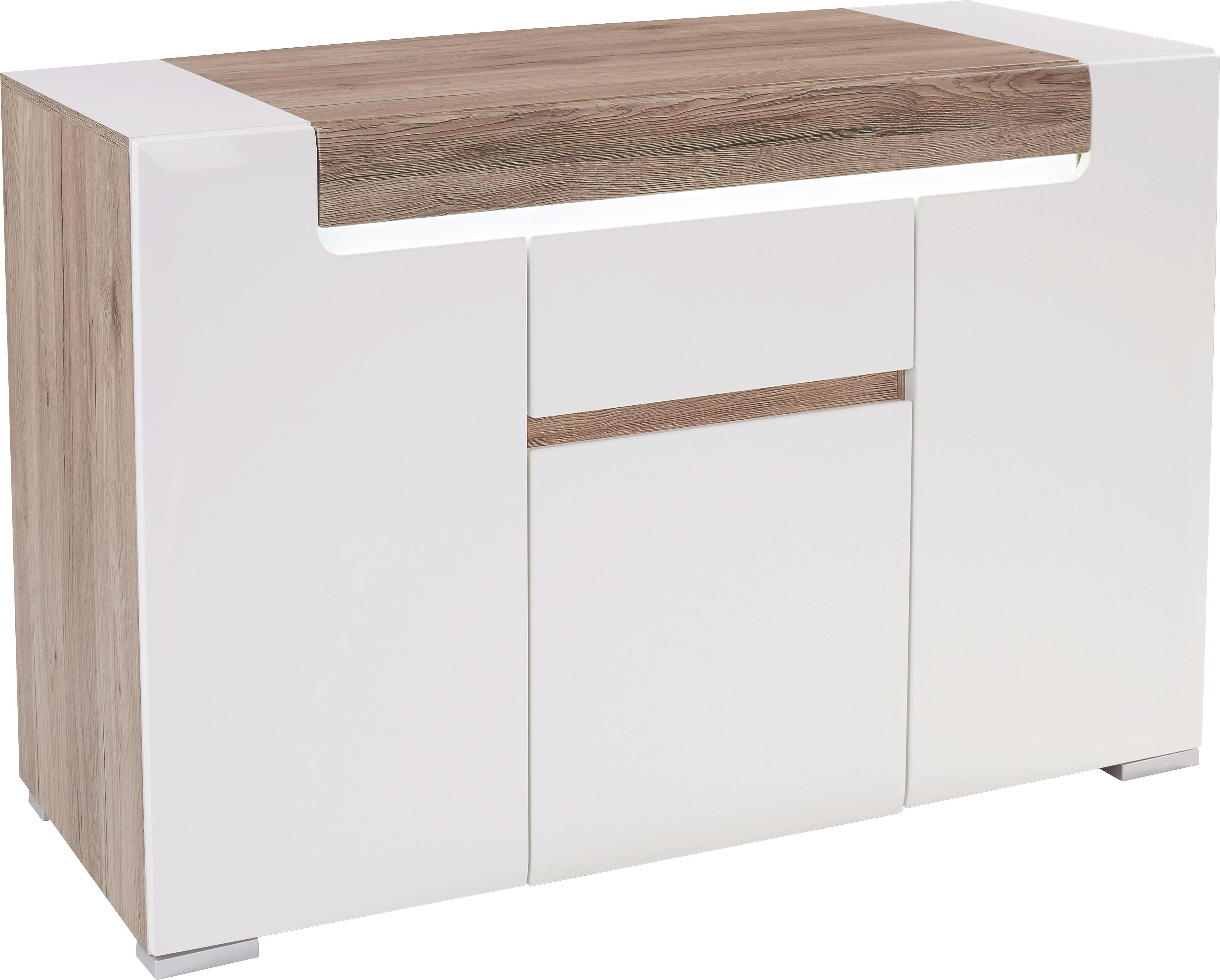 Tálalószekrény Toronto - tölgy színű/fehér, modern, faanyagok (140/85/42,2cm) - OMBRA