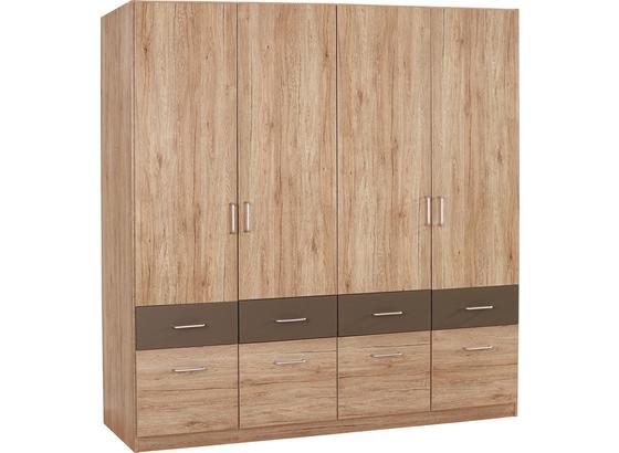 Skříň Šatní Aalen-extra - šedá/barvy dubu, Konvenční, kompozitní dřevo (181/197/54cm)