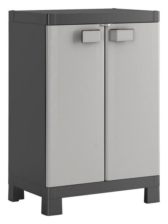 Geräteschrank Kunststoff Logico Niedrig - Hellgrau/Schwarz, KONVENTIONELL, Kunststoff (65/97/45cm)