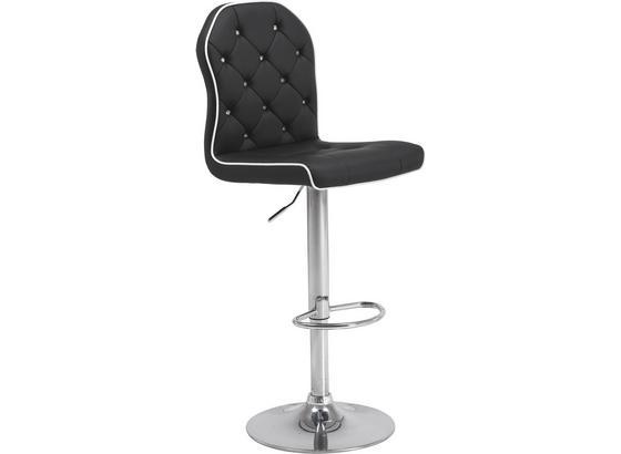 Barová Židle Stop - černá/barvy chromu, Moderní, kov/textil (42/101-122/54cm)