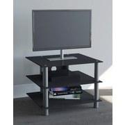 TV-Regal Sindas B: 60 cm, Schwarz, Silber - Silberfarben/Schwarz, KONVENTIONELL, Glas/Metall (60/45/42cm) - Livetastic