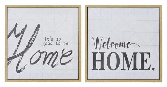 Bild Home 50x50 cm - Schwarz/Naturfarben, MODERN, Holz (50/50/2,5cm)