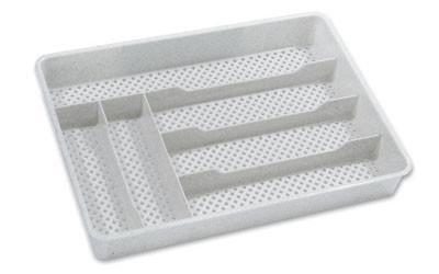 Besteckbox Durchbrochen - Blau/Weiß, KONVENTIONELL, Kunststoff (25/4,5/35cm)
