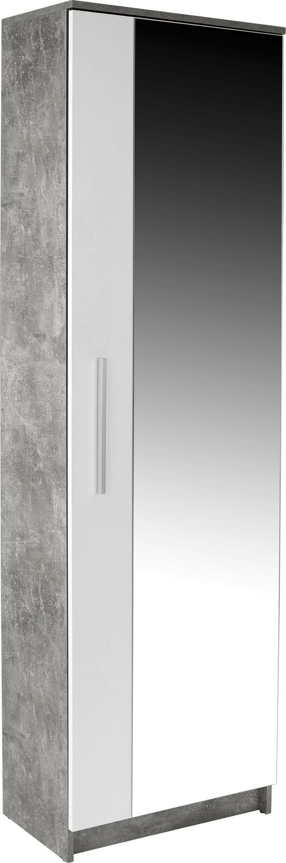 Előszobaszekrény Tina - Világosszürke/Fehér, modern, Faalapú anyag/Üveg (60/198/32cm)
