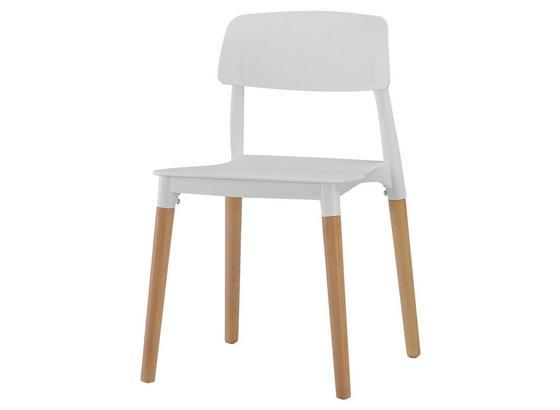 Stuhl Ernie B: 43 cm Weiß - Weiß/Naturfarben, MODERN, Holz/Kunststoff (43/76,5/47cm) - Ombra